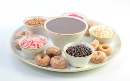 Fresh mini doughnuts to dip in real chocolate sauce and textures