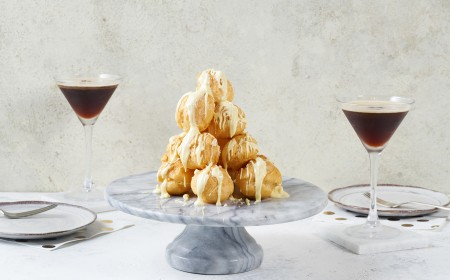 Raspberry & White Chocolate Profiterole Platter