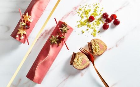 Tronchetto natalizio cioccolato ruby e Gold