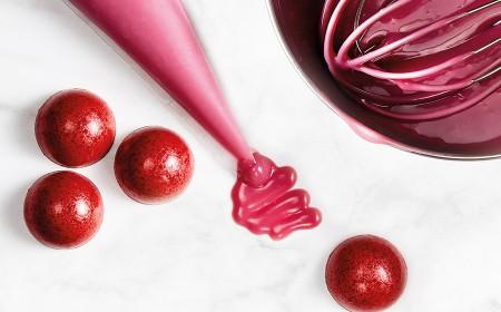 Ganache mit ruby rb1 für geformte pralinen