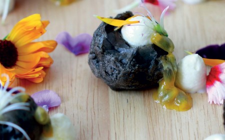 White chocolate and soursop in bamboo charcoal profiteroles