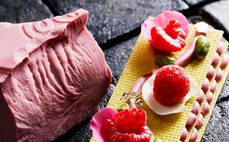 Milhoja ruby y pistacho
