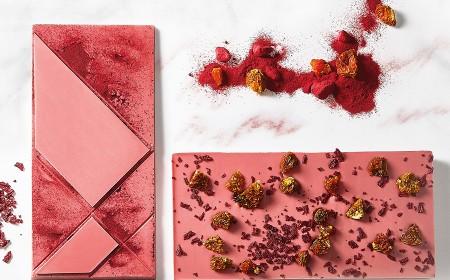 Tableta Ruby y trozos de Frambuesa