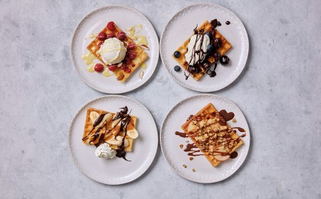 Build your waffle and chocolate sauce