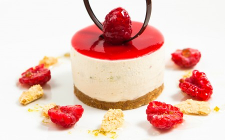 White chocolate, raspberry and lime cheesecake