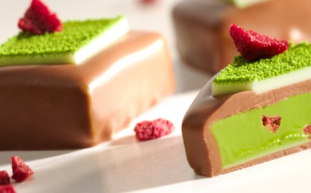 Pistachio gianduja filled chocolates