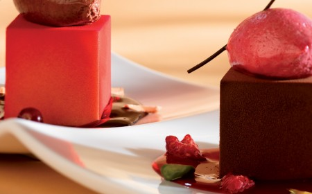 Raspberry and dark chocolate duo dessert