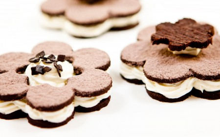 Chocolate flower biscuits
