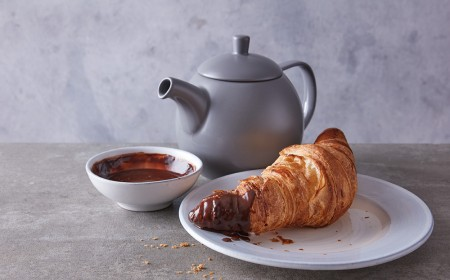 Croissant with chocolate dipping sauce