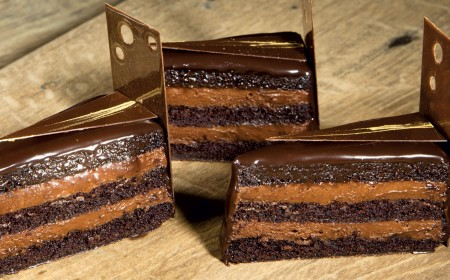 Dark chocolate cake infused with earl grey