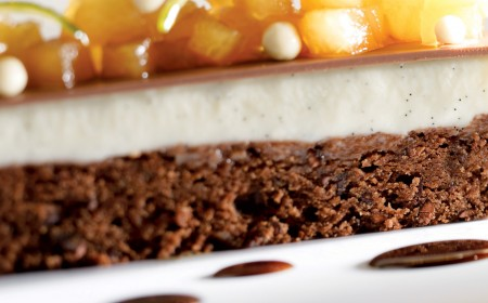 Brownie with panna cotta and stewed pear