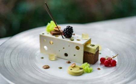 Milk Chocolate, Hazelnut Torte with Pistachio Mousseline and Lemon jelly
