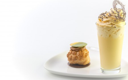 Passion fruit white chocolate drink with choux pastry