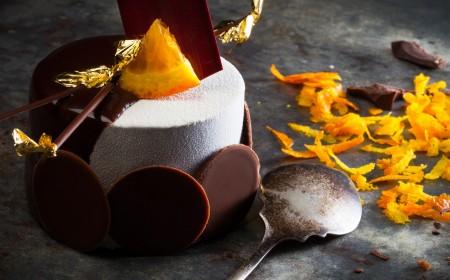 Mousse de chocolate y delicia de naranja