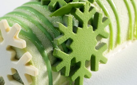 Pistachio lemon and white chocolate yule log