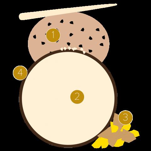 Canelone de chocolate amargo com amêndoa e sorvete de nibs de cacau