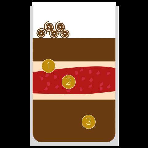 Mousse al cioccolato, pan di Spagna alle mandorle e lamponi