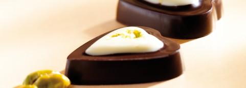 Pistachio flavoured ganache