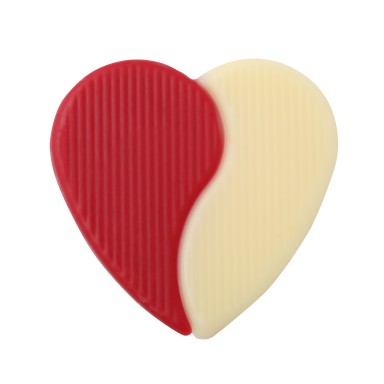 Red and Ivory Duo Heart