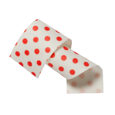 Almond and sugar collars Red Dots 50mm