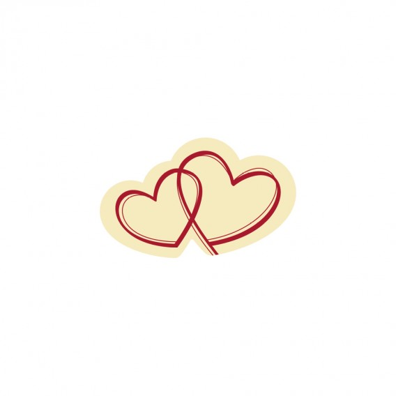 Two Hearts - Chocolate Decorations - Hearts Plaque - 200pcs