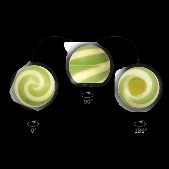 Truffle Shell Swirly Green 2 - Chocolate Decorations - Truffle Shell - 63 pcs