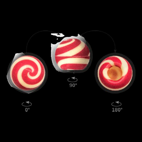Truffle Shell Swirly Red 2 - Chocolate Decorations - Truffle Shells - 63 pcs