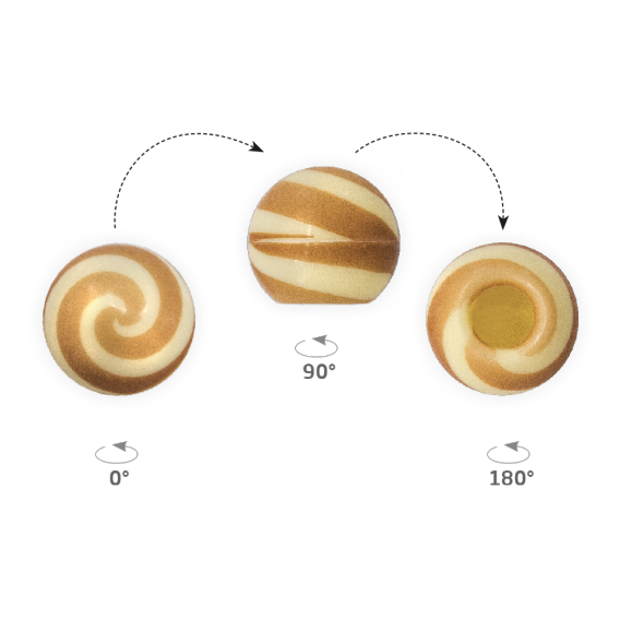 Truffle Shell Swirly Brown - Chocolate Decorations - Truffle Shell - 63 pcs