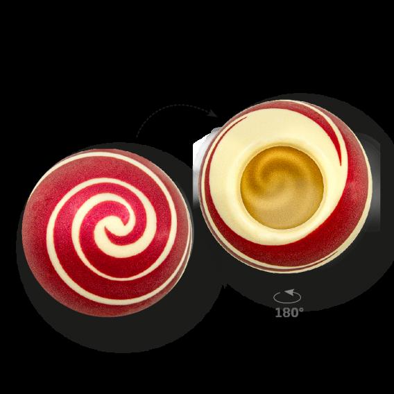 Swirl Shell Red 2 - White Chocolate - Chocolate Decorations - Dessert Shell - 20 pcs